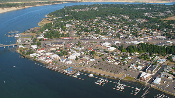 Aerial view of the Port of Siulsaw, the Siuslaw River and part of Florence, Oregon
